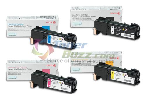 Original Xerox Phaser 6140 Black Cyan Magenta Yellow Toner Cartridge 4-Pack 106R01477 106R01478 106R01479 106R01480
