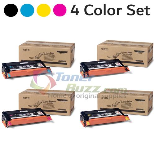 Original Xerox Phaser 6180 Black Cyan Magenta Yellow High Capacity Toner Cartridge 4-Pack 113R00723, 113R00724, 113R00725, 113R00726