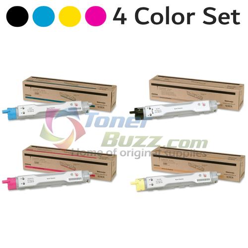 Original Xerox Phaser 6200 Black Cyan Magenta Yellow High Capacity Toner Cartridge 4-Pack 016-2005-00 016-2006-00 016-2007-00 016-2008-00