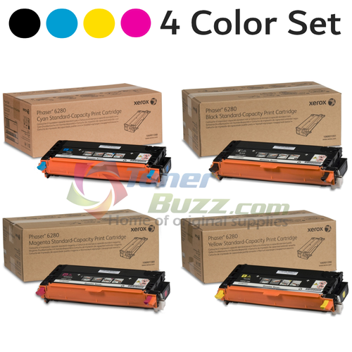 Original Xerox Phaser 6280 Black Cyan Magenta Yellow Toner Cartridge 4-Pack 106R01388 106R01389 106R01390 106R01391