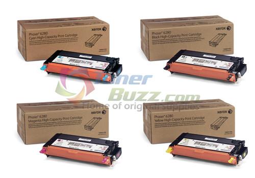 Original Xerox Phaser 6280 Black Cyan Magenta Yellow High-Yield Toner Cartridge 4-Pack 106R01392, 106R01393, 106R01394, 106R01395