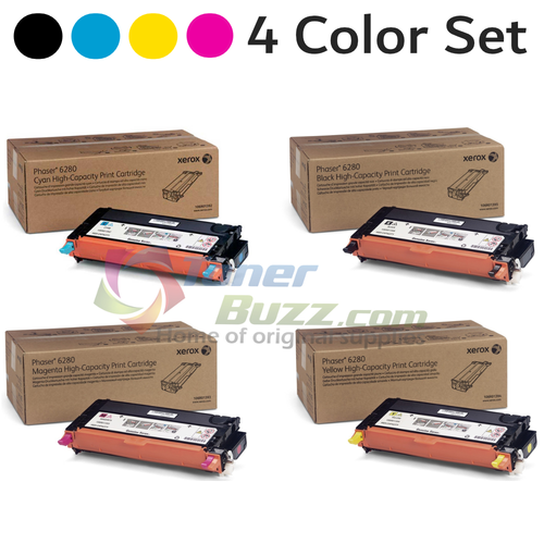 Original Xerox Phaser 6280 Black Cyan Magenta Yellow High-Yield Toner Cartridge 4-Pack 106R01392, 106R01393, 106R01394, 106R01395