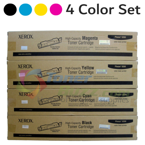Original Xerox Phaser 6350 Black Cyan Magenta Yellow High-Capacity Toner Cartridge 4-Pack 106R01144 106R01145 106R01146 106R01147