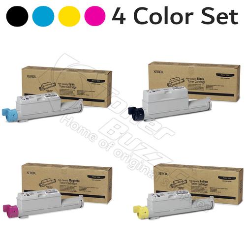 Original Xerox Phaser 6360 Black Cyan Magenta Yellow High-Yield Toner Cartridge 4-Pack 106R01218 106R01219 106R01220 106R01221