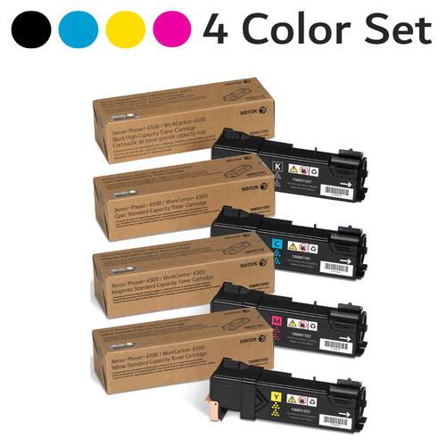 Original Xerox Phaser 6500 Black Cyan Magenta Yellow Toner Cartridge 4-Pack 106R01591 106R01592 106R01593 106R01597