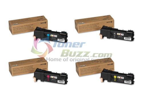 Original Xerox Phaser 6500 Black Cyan Magenta Yellow High Capacity Toner Cartridge 4-Pack 106R01594 106R01595 106R01596 106R01597