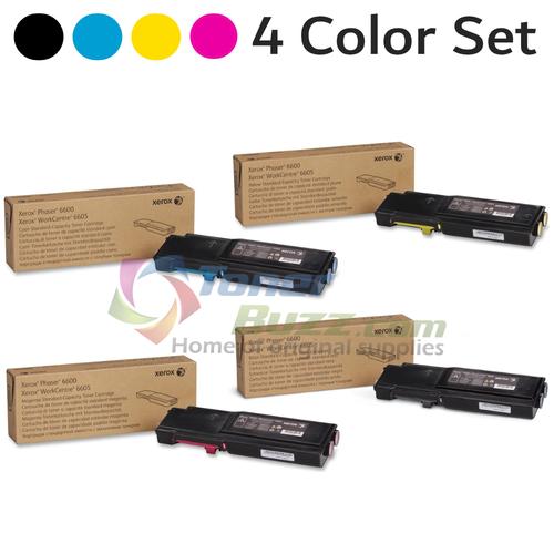 Original Xerox Phaser 6600-6605 Black Cyan Magenta Yellow Toner Cartridge 4-Pack 106R02241 106R02242 106R02243 106R02244