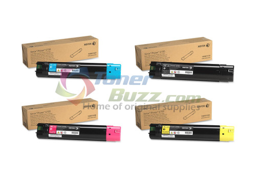 Original Xerox Phaser 6700 Black Cyan Magenta Yellow High Capacity Toner Cartridge 4-Pack 106R01507 106R01508 106R01509 106R01510