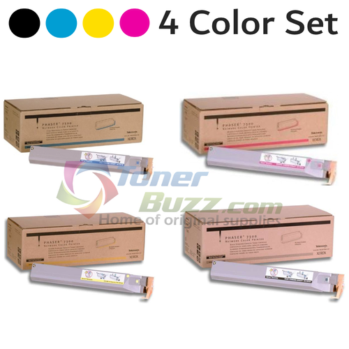 Original Xerox Phaser 7300 Black Cyan Magenta Yellow Toner Cartridge 4-Pack 016-1973-00 016-1974-00 016-1975-00 016-1976-00