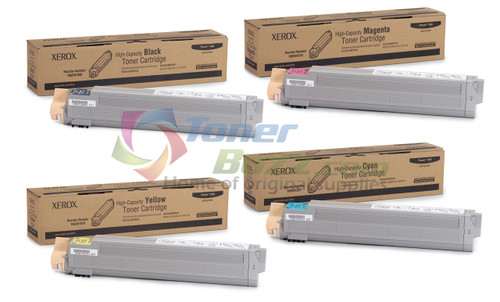 Original Xerox Phaser 7400 Black Cyan Magenta Yellow High-Capacity Toner Cartridge 4-Pack 106R01077 106R01078 106R01079 106R01080