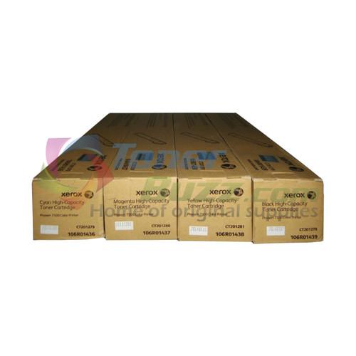 Original Xerox Phaser 7500 Black Cyan Magenta Yellow High-Yield Toner Cartridge 4-Pack 106R01436 106R01437 106R01438 106R01439