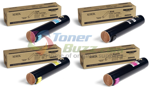 Original Xerox Phaser 7760 Black Cyan Magenta Yellow Toner Cartridge 4-Pack 106R01160 106R01161 106R01162 106R01163