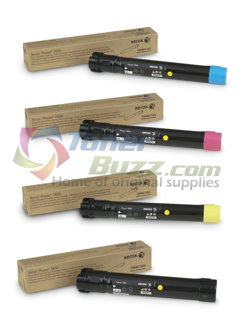 Original Xerox Phaser 7800 Set Black Cyan Magenta Yellow Toner Cartridge 4-Pack 106R01563 106R01564 106R01565 106R01569