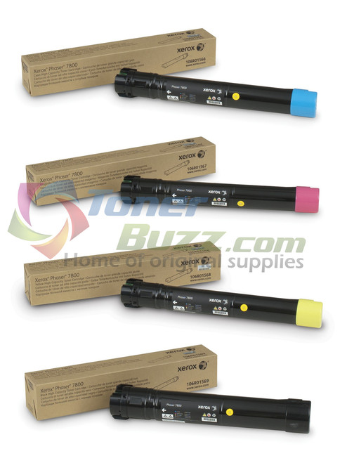 Original Xerox Phaser 7800 Black Cyan Magenta Yellow High Capacity Toner Cartridge 4-Pack 106R01566 106R01567 106R01568 106R01569