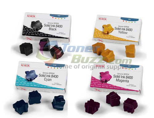 Original Xerox Phaser 8400 ColorStix Black Cyan Magenta Yellow Solid Ink Cartridge 4-Pack 108R00604 108R00605 108R00606 108R00607