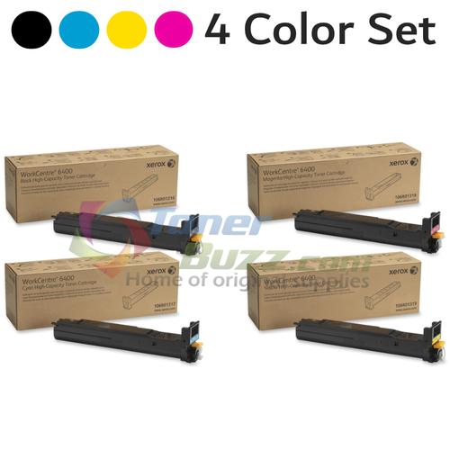 Original Xerox WorkCentre 6400 Black Cyan Magenta Yellow High Capacity Toner Cartridge 4-Pack 106R01316 106R01317 106R01318 106R01319
