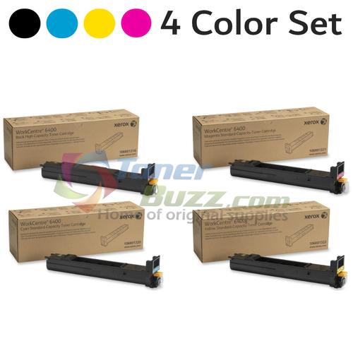 Original Xerox WorkCentre 6400 Black Cyan Magenta Yellow Toner Cartridge 4-Pack 106R01316 106R01320 106R01321 106R01322