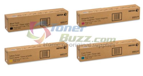 Original Xerox WorkCentre 7120 Black Cyan Magenta Yellow Toner Cartridge 4-Pack 006R01457 006R01458 006R01459 006R01460