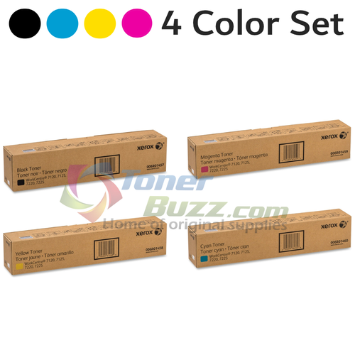 Original Xerox WorkCentre 7120 Black Cyan Magenta Yellow Toner Cartridge 4-Pack 006R01457 006R01458 006R01459 006R01460