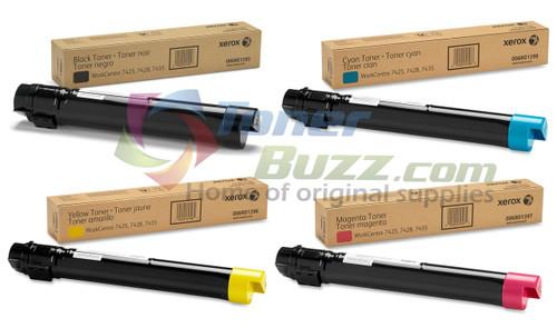 Original Xerox WorkCentre 7425 Black Cyan Magenta Yellow Toner Cartridge 4-Pack 006R01395 006R01396 006R01397 006R01398