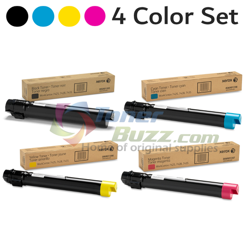 Original Xerox WorkCentre 7425 Black Cyan Magenta Yellow Toner Cartridge 4-Pack 006R01395 006R01396 006R01397 006R01398