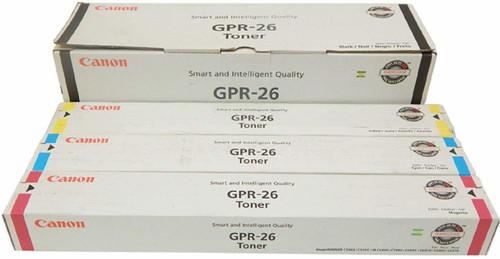 Canon GPR-26 CYMK Set   2447B003AA 2448B003AA 2449B003AA 2450B003AA   Original Canon Toner Cartridge Set - Black, Cyan, Magenta, Yellow