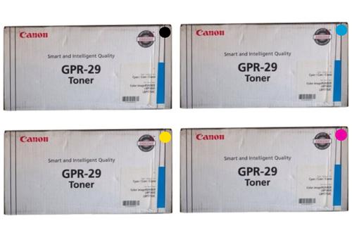 Canon GPR-29 CYMK Set   2641B004AA 2642B004AA 2643B004AA 2645B004AA   Original Canon Toner Cartridge Set - Black, Cyan, Magenta, Yellow