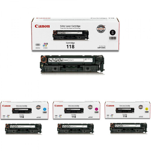 Canon 118 CYMK Set   2659B001AA 2662B001AA 2661B001AA 2660B001AA   Original Canon Toner Cartridge Set – Black, Cyan, Magenta, Yellow