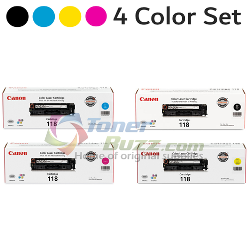 Original Canon 118 Black Cyan Magenta Yellow Laser Toner Cartridge Set 2659B001AA 2662B001AA 2661B001AA 2660B001AA