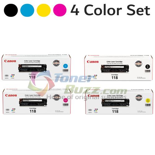 Original Canon 118 Black Cyan Magenta Yellow Laser Toner Cartridge Set 2659B001AA 2662B001AA 2661B001AA 2660B001AA