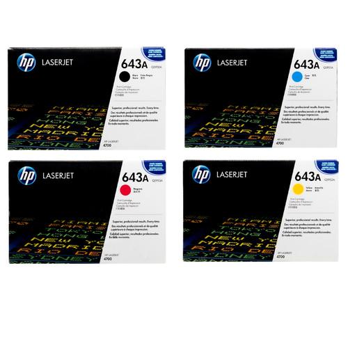 Original HP 643A Set Q5950A Q5951A Q5952A Q5953A Black Cyan Magenta Yellow Toner Cartridges
