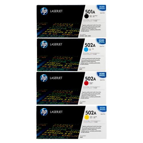 Original HP 501A 502A Set Q6470A Q6471A Q6472A Q6473A Black Cyan Magenta Yellow Color Toner Cartridges