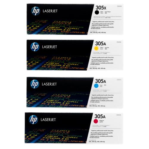 Original HP 305X 305A Set CE410X CE411A CE412A CE413A Black Cyan Magenta Yellow Toner Cartridges