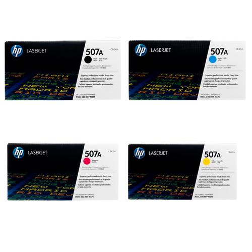 Original HP 507A Set CE400A CE401A CE402A CE403A Black Cyan Magenta Yellow Toner Cartridges