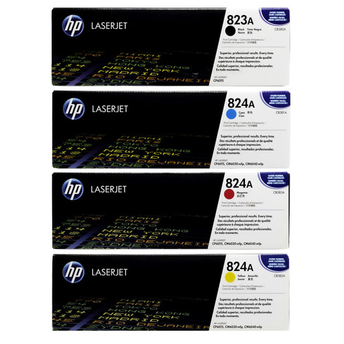 HP 823A 824A Toner SET   CB380A CB381A CB382A CB383A   Original HP Toner Cartridge - Black, Cyan, Yellow, Magenta
