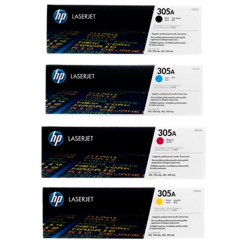 Original HP 305A Set CE410A CE411A CE412A CE413A Black Cyan Magenta Yellow Toner Cartridges