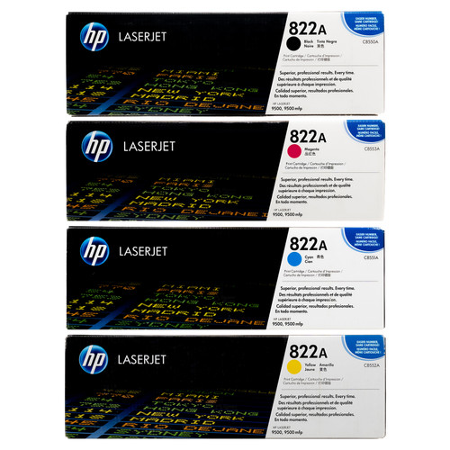 Original HP 822A Set C8550A C8551A C8552A C8553A Black Cyan Magenta Yellow Toner Cartridges