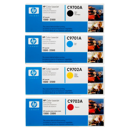 Original HP 121A Set C9700A C9701A C9702A C9703A Black Cyan Magenta Yellow Toner Cartridges