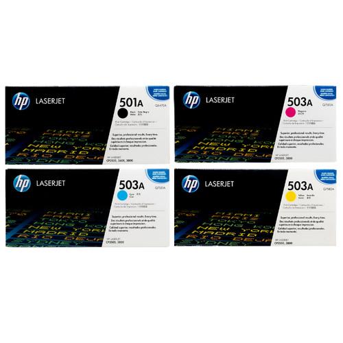 Original HP 501A 503A Set Q6470A Q7581A Q7582A Q7583A Black Cyan Magenta Yellow Toner Cartridges