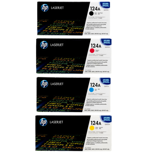 Original HP 124A Set Q6000A Q6001A Q6002A Q6003A Black Cyan Magenta Yellow Toner Cartridges