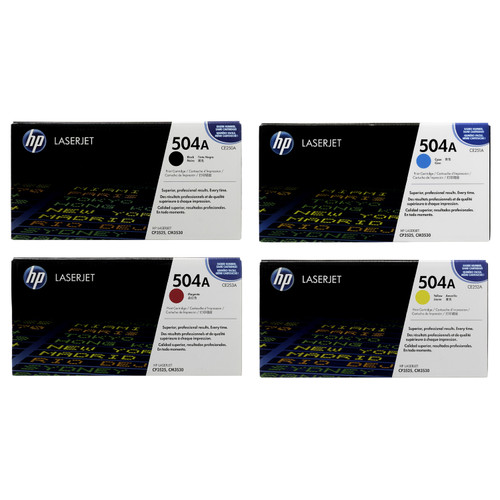 Original HP 504A Set CE250A CE251A CE252A CE253A Black Cyan Magenta Yellow Toner Cartridges