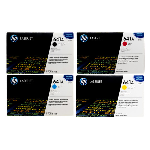 Original HP 641A Set C9720A C9721A C9722A C9723A Black Cyan Magenta Yellow Toner Cartridges