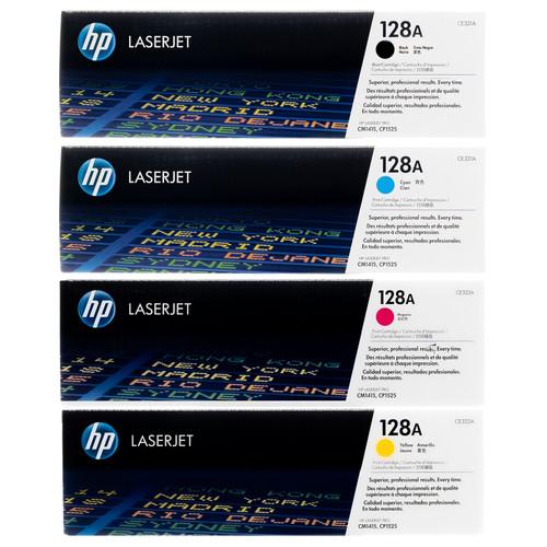 Original HP 128A Set CE320A CE321A CE322A CE323A Black Cyan Magenta Yellow Toner Cartridges