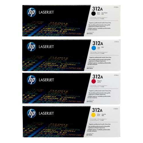 Original HP 312A Set CF380A CF381A CF382A CF383A Black Cyan Magenta Yellow Toner Cartridges