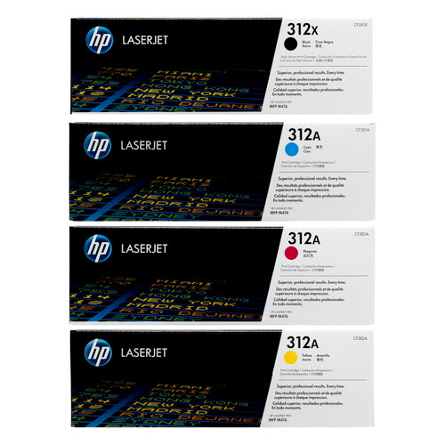 Original HP 312X 312A Set CF380X CF381A CF382A CF383A Black Cyan Magenta Yellow Toner Cartridges