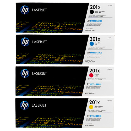 Original HP 201X Set CF400X CF401X CF402X CF403X High Yield Toner Cartridges Black Cyan Magenta Yellow