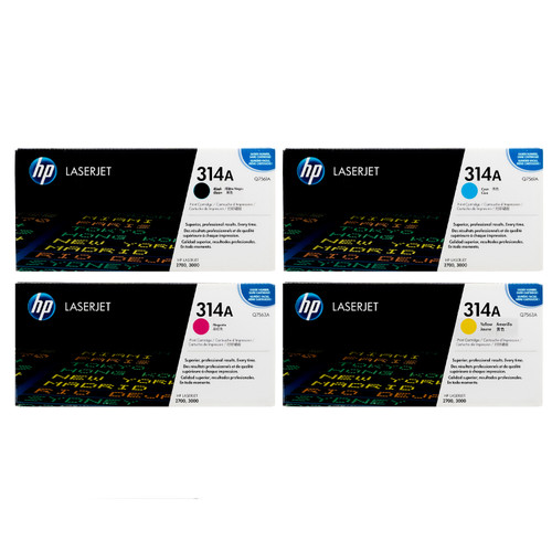 Original HP 314A Set Q7560A Q7561A Q7562A Q7563A Black Cyan Magenta Yellow Toner Cartridges