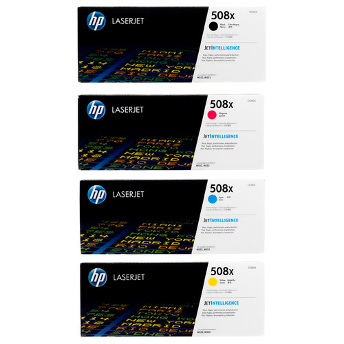 Original HP 508X Set CF360X CF361X CF362X CF363X High Yield Toner Cartridges Black Cyan Magenta Yellow