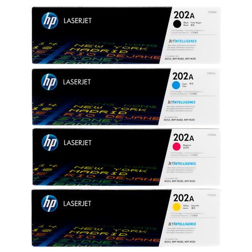 Original HP 202A Set CF500A CF501A CF502A CF503A Black Cyan Magenta Yellow Toner Cartridges