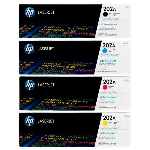 HP 202A SET | CF500A CF501A CF502A CF503A | Original HP Toner Cartridge - Black, Cyan, Yellow, Magenta